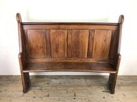 Antique Victorian Pitch Pine Curved Back Pew or Settle (15 of 16)