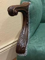 George II Style Solid Mahogany Ornately Carved Wing Armchair (4 of 10)
