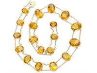 124.21ct Citrine & 9ct Rose Gold Riviere Necklace - Antique c.1890 (3 of 9)