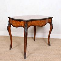 Serpentine Writing Table Louis XVI Style Inlaid Kingwood (4 of 19)