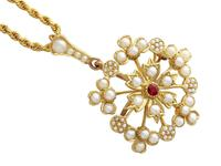Ruby & Seed Pearl, 15ct Yellow Gold Pendant / Brooch - Antique c.1920 (3 of 14)