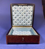 Victorian French Burr Cedar Jewellery Box with Inlay & Original Interior (11 of 13)