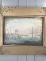Antique Georgian or Early Victorian Landscape Oil Painting of Boats in Harbour by John Wilson Ewbank 2 of 2 (3 of 10)