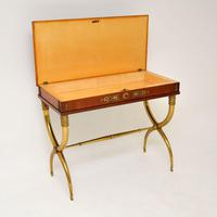 Antique Neoclassical Walnut & Brass Writing / Side Table (4 of 16)
