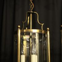 French Gilded Pair of Convex Triple Light Lanterns c.1930 (5 of 10)