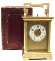 Superb Large Antique French 8-day Striking Carriage Repeat Feature Clock c.1880
