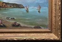 Original Antique 19th Century British Coastal Seascape Oil on Board Painting (8 of 10)