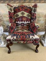Kilim Covered Wingback Armchair on Ball & Claw Feet (2 of 9)
