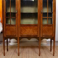 Edwardian Glazed Bookcase Inlaid Mahogany (4 of 9)