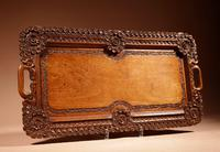 Two Colonial Very Fine Carved Wooden Trays (9 of 13)