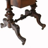 Victorian Sewing Table Antique Burr Walnut 1860 Side Tables (11 of 11)