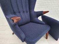 "Danish design ""Teddy bear"" chair, 70s, wool, teak wood, reupholstered (5 of 16)"