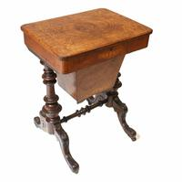 Victorian Sewing Table Antique Burr Walnut 1860 Side Tables (3 of 11)