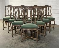 Set of 10 French Bleached Oak Farmhouse Dining Chairs (6 of 16)