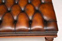 Large Antique Victorian Style Leather & Mahogany Stool / Coffee Table (6 of 8)