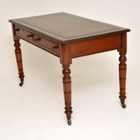 Antique Victorian Mahogany Leather Top Writing Desk (5 of 10)