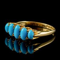 Antique Edwardian Turquoise Ring 18ct Gold Dated 1913 (5 of 7)