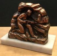 Unusual Pair 1950's Bookends in the shape of coal miners on marble bases (2 of 6)