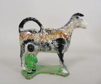 Early Staffordshire Sponge Painted Prattware Cow Creamer (5 of 8)
