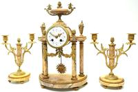 Antique 8 Day French Ormolu & Marble Mantel Clock Set with 2 Branch Candelabras (7 of 10)