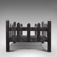 Antique Fire Basket, English, Cast Iron. Fireside, Grate, Late Victorian c.1900 (4 of 10)