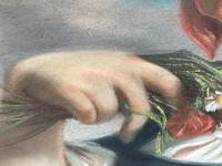 """19th Century Oval Pastel Painting French Neapolitan"""" Nubile Young Woman Feeding Goat Flowers"""" Attributed Fantin Latour Theodore (29 of 51)"""