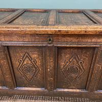 17th Century Period Oak Antique Carved Coffer (2 of 8)