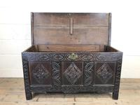 Antique 18th Century Carved Oak Coffer (M-1635) (10 of 13)