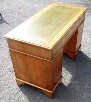 1960s Yew Wood Pedestal Desk with Green Leather (4 of 4)