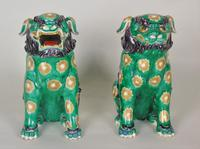 Superb Pair of 19th Century Chinese Porcelain Dogs of Fo Temple Guardians (5 of 12)