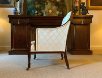 Exceptional Pair of Mahogany Inlaid Linen Silk Upholstered Bergere Armchairs (7 of 12)