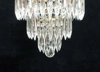Italian Art Deco Three Tier Crystal Glass Chandelier with Sphere (6 of 7)