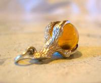 Vintage Silver Pocket Watch Chain Fob 1970s Dainty Talon or Claw Holding an Amber Ball (2 of 9)