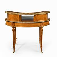 Unusual Victorian Freestanding Oval Satinwood Desk (6 of 12)