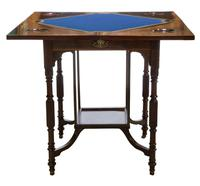 A Late Victorian Inlaid Rosewood Envelope Card Table (2 of 9)