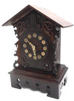 Rare Cuckoo Mantel Clock – German Black Forest Carved Bracket Clock (4 of 12)