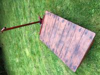 English Vintage Railway Willmot Trolley Oak Iron Plank Top Coffee Wheel Table (24 of 25)