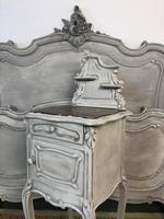 Antique French Double Bed Frame & Pot Cupboard Painted in Weathered Grey (6 of 12)