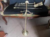 Glorious Fire Tools Set on Stand Solid Brass (6 of 9)