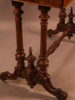 Super Quality Victorian Burr Walnut & Marquetry Card Table (6 of 12)