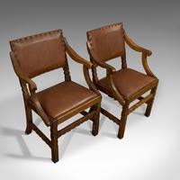 Set of 8, Antique Dining Chairs, Oak, Seat, Arts & Crafts, Hamptons, Edwardian (2 of 11)