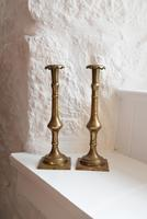 18th Century Georgian Brass Candlesticks (2 of 10)