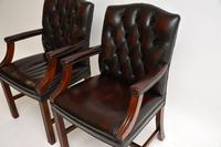 Pair of Antique Georgian Style Leather Gainsborough Armchairs (3 of 9)