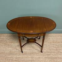 Small Edwardian Inlaid Mahogany Antique Sofa Table (5 of 9)