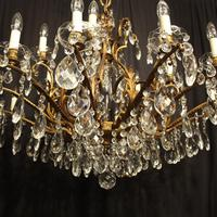 Italian Gilt & Crystal 22 Light Antique Chandelier (10 of 10)