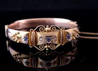 Antique Sapphire and Diamond bangle, 9ct Rose gold (6 of 11)