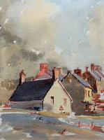 Original Vintage North Wales Coastal Village Landscape Watercolour Painting (7 of 12)