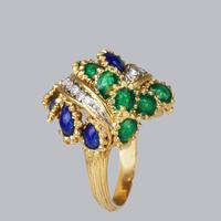 Vintage Diamond and Blue & Green Enamel Ring 18ct Gold Bombé Ring (9 of 21)
