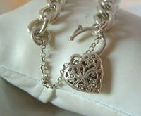 "Vintage Sterling Silver Bracelet 1976 Puffy Heart Padlock 6 1/2"" Length 21.8 Grams (6 of 12)"