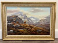 """Oil Painting Scottish Stags """"Denizens of the Highlands"""" Signed Wendy Reeves (2 of 45)"""
